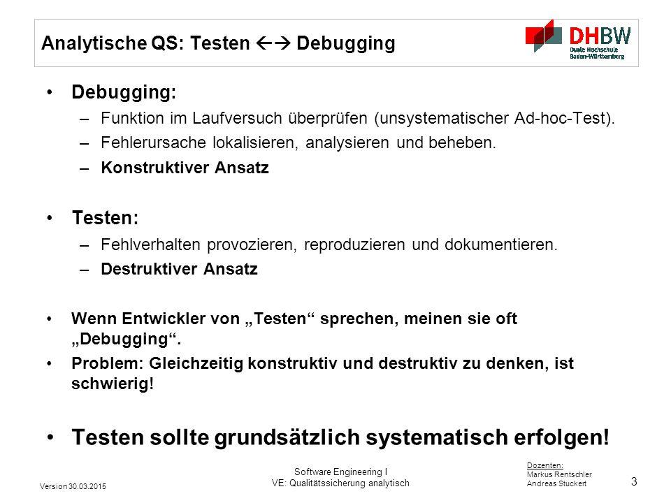 Analytische QS: Testen  Debugging