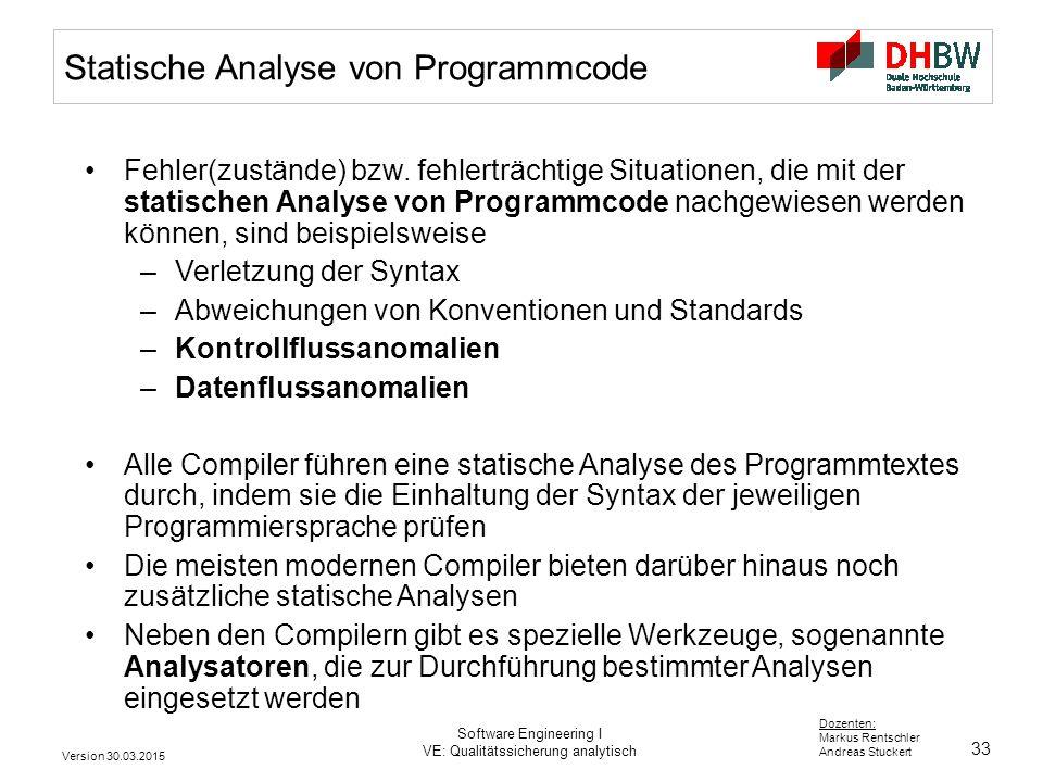Statische Analyse von Programmcode
