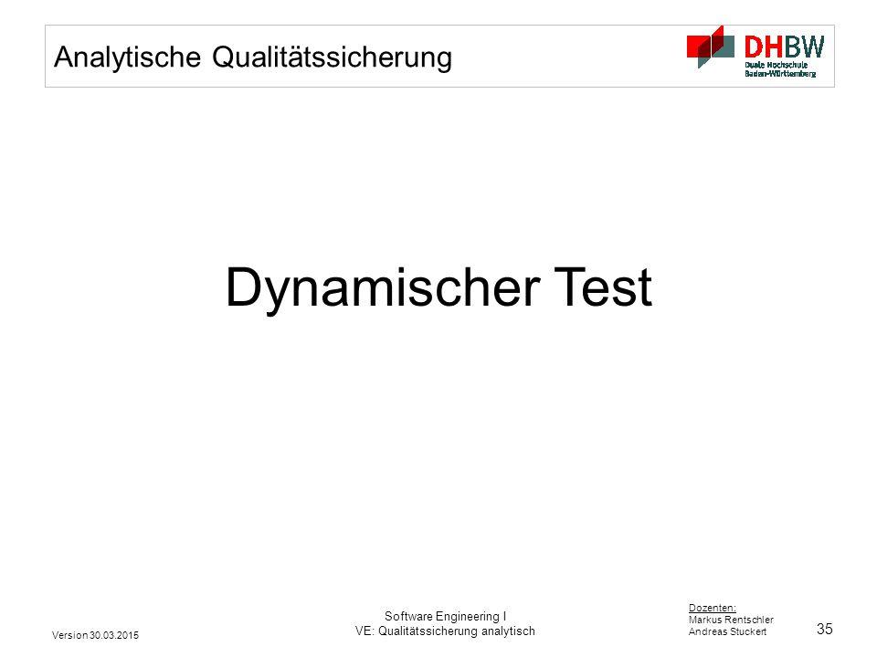 Dynamischer Test Analytische Qualitätssicherung Software Engineering I