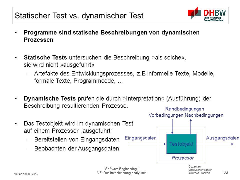 Statischer Test vs. dynamischer Test