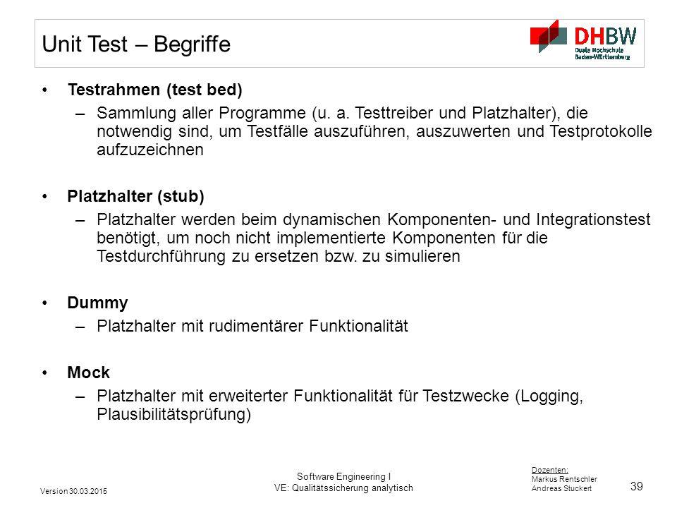 Unit Test – Begriffe Testrahmen (test bed)