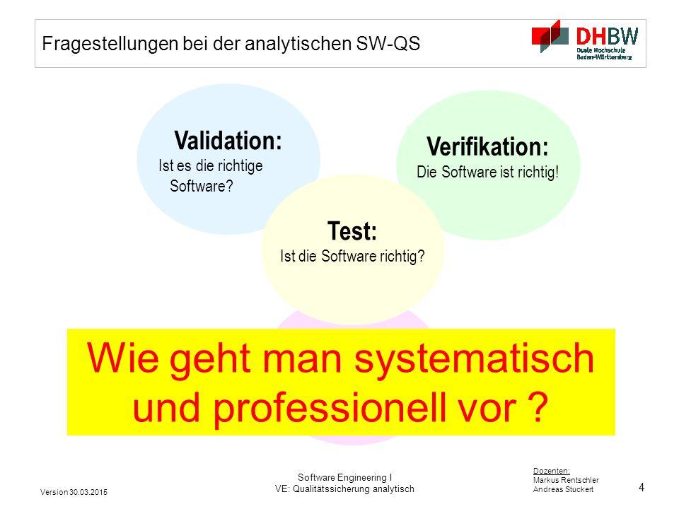 Fragestellungen bei der analytischen SW-QS