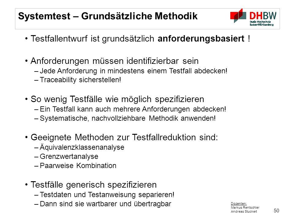 Systemtest – Grundsätzliche Methodik
