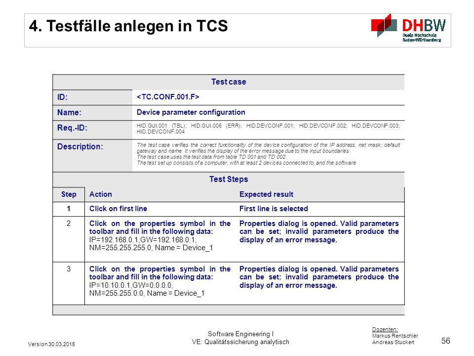 4. Testfälle anlegen in TCS
