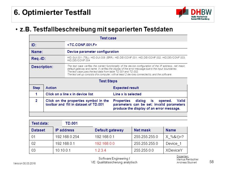 6. Optimierter Testfall z.B. Testfallbeschreibung mit separierten Testdaten. Test case. ID: <TC.CONF.001.F>