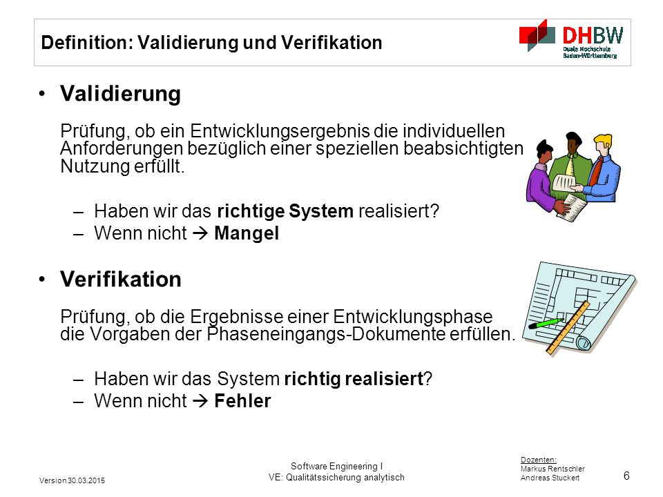 Definition: Validierung und Verifikation