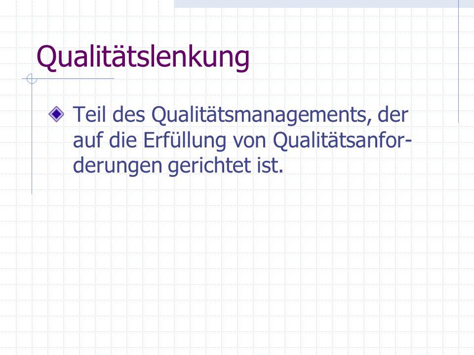 Qualitätslenkung Teil des Qualitätsmanagements, der auf die Erfüllung von Qualitätsanfor-derungen gerichtet ist.