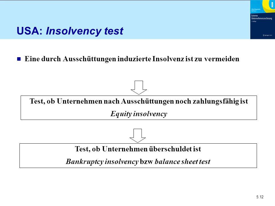 USA: Insolvency test Eine durch Ausschüttungen induzierte Insolvenz ist zu vermeiden.