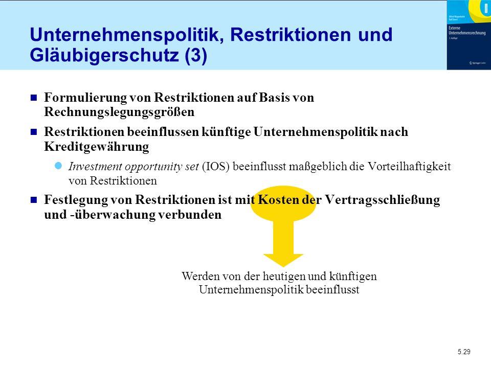 Unternehmenspolitik, Restriktionen und Gläubigerschutz (3)