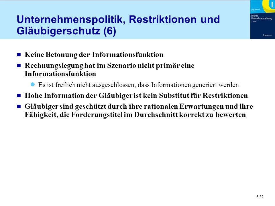 Unternehmenspolitik, Restriktionen und Gläubigerschutz (6)