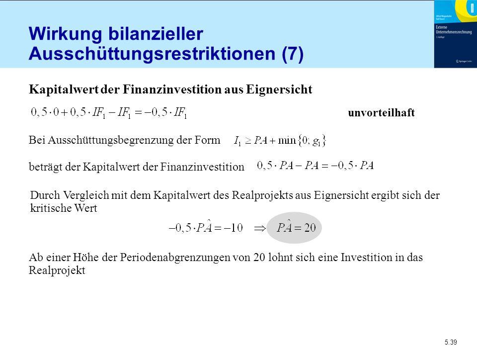 Wirkung bilanzieller Ausschüttungsrestriktionen (7)