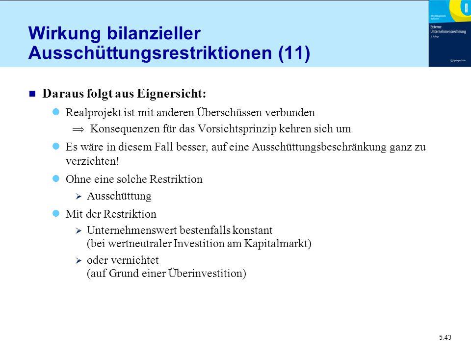 Wirkung bilanzieller Ausschüttungsrestriktionen (11)
