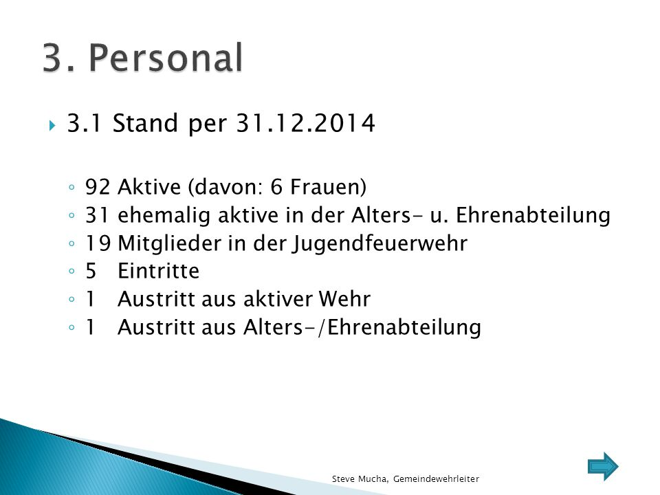 3. Personal 3.1 Stand per 31.12.2014 92 Aktive (davon: 6 Frauen)