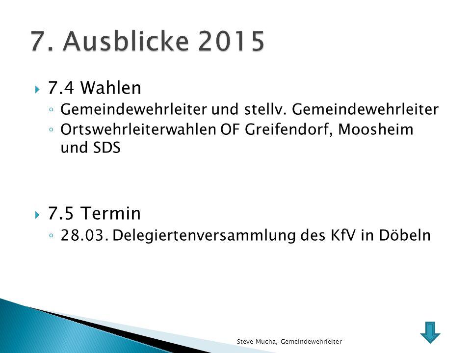 7. Ausblicke 2015 7.4 Wahlen 7.5 Termin