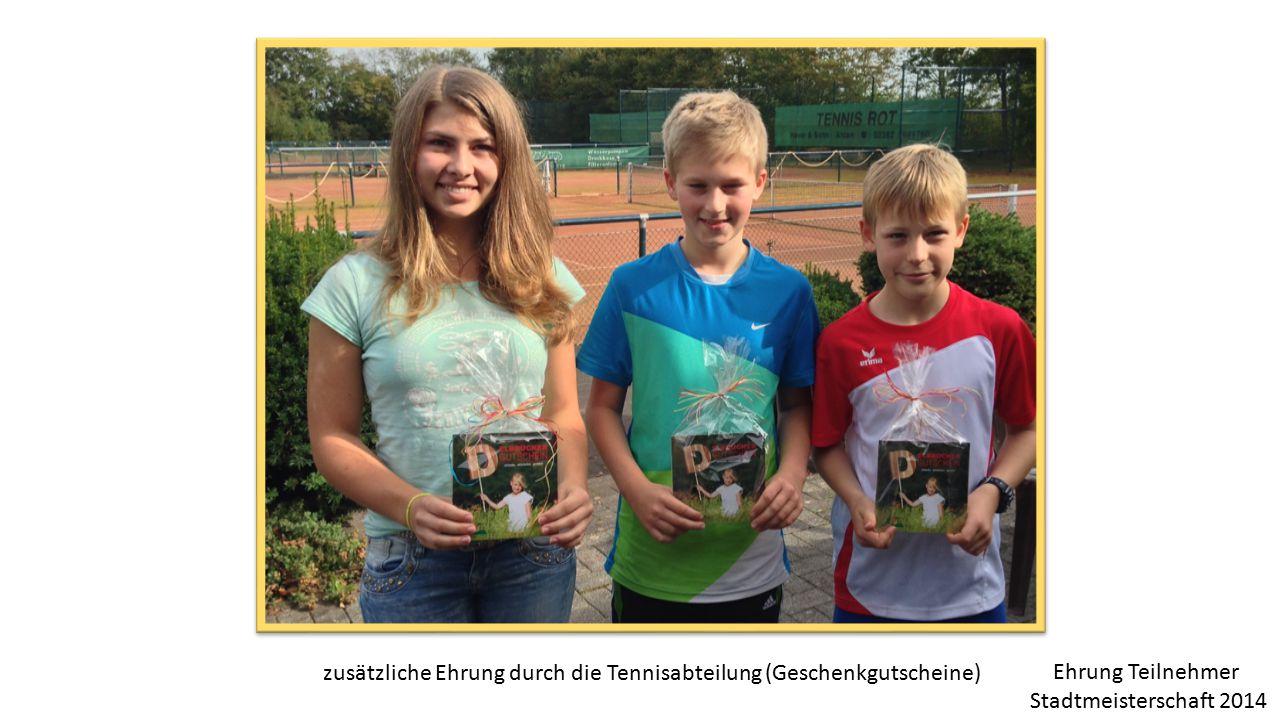 zusätzliche Ehrung durch die Tennisabteilung (Geschenkgutscheine)