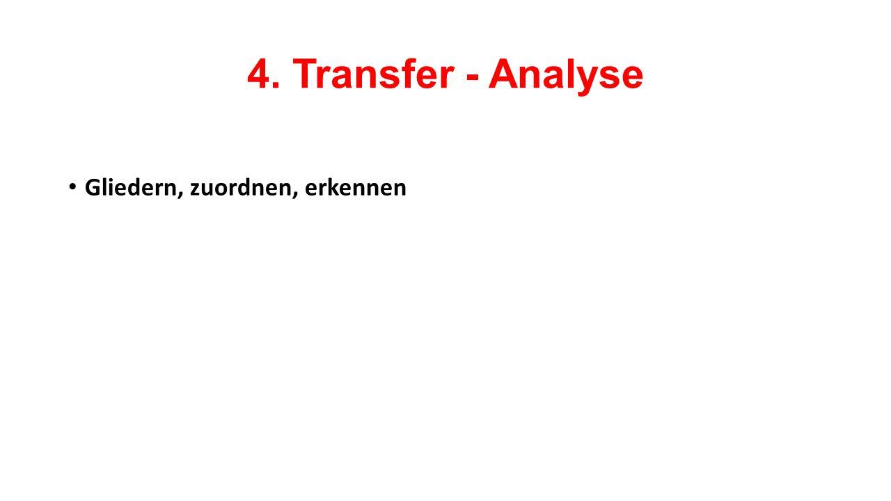 4. Transfer - Analyse Gliedern, zuordnen, erkennen