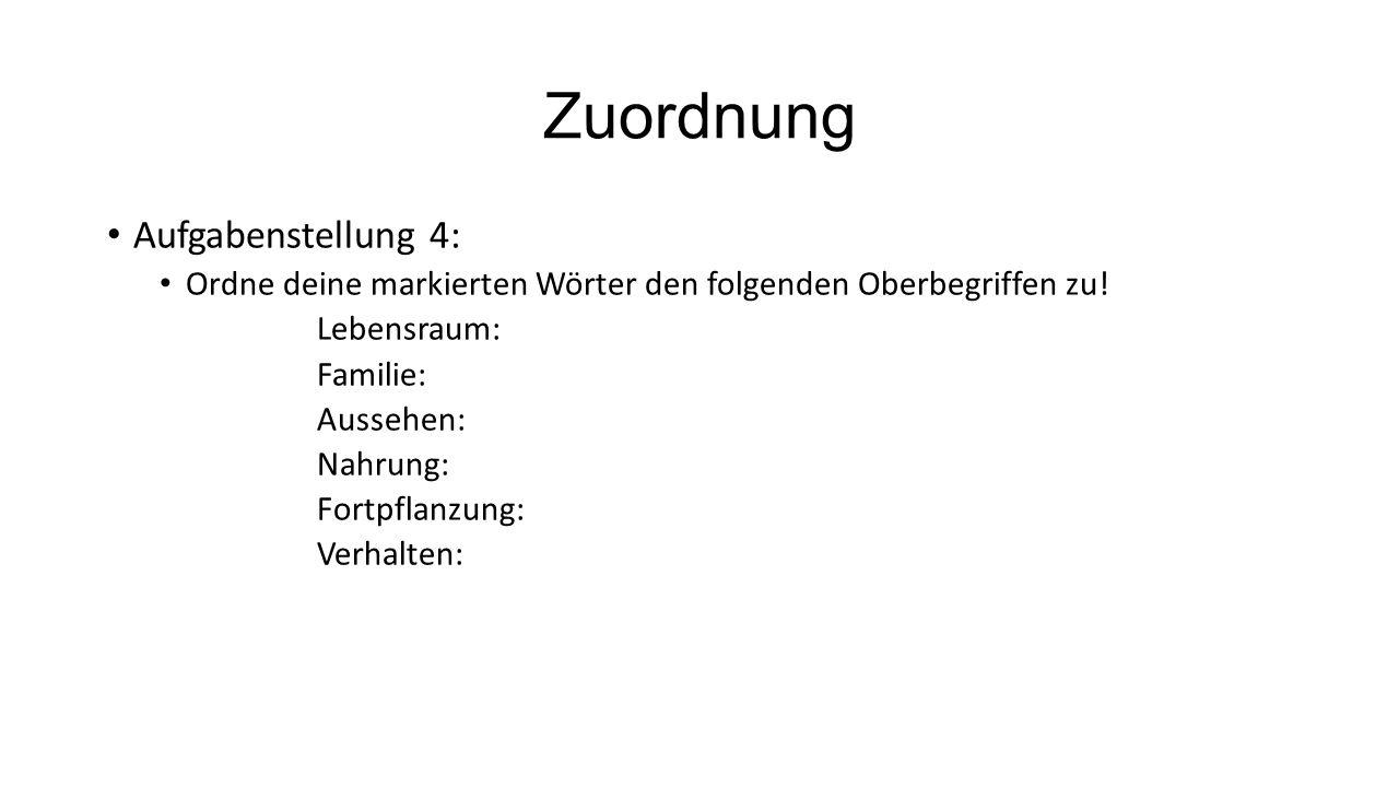 Zuordnung Aufgabenstellung 4: