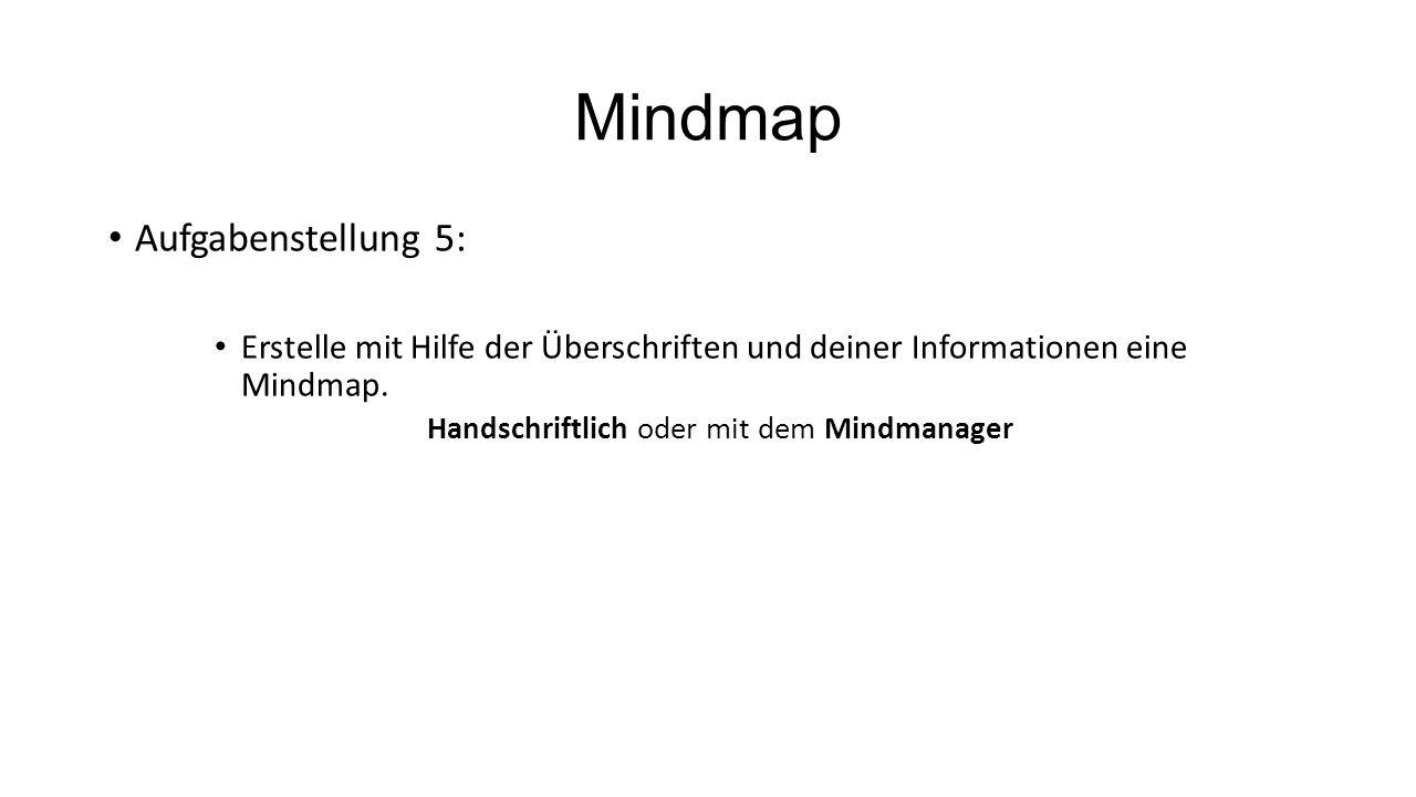 Mindmap Aufgabenstellung 5: