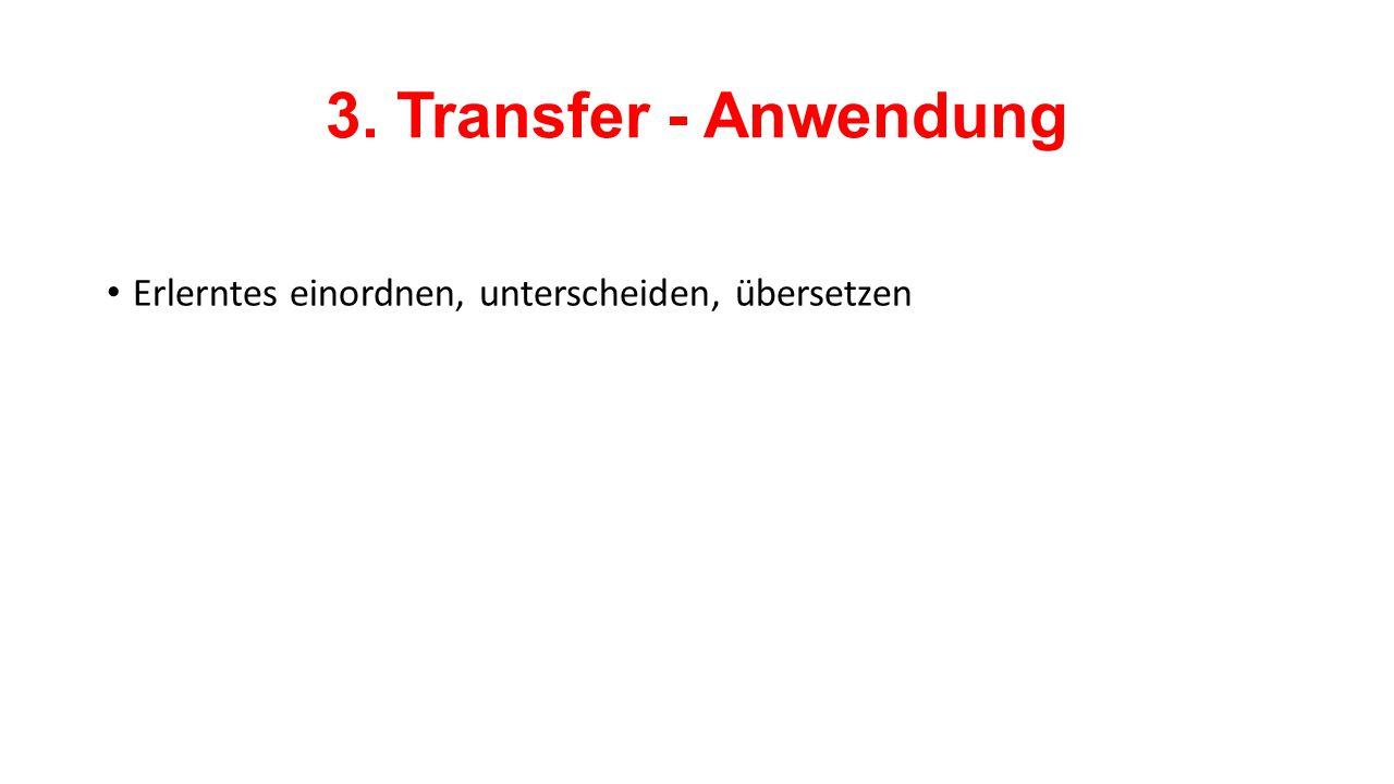 3. Transfer - Anwendung Erlerntes einordnen, unterscheiden, übersetzen