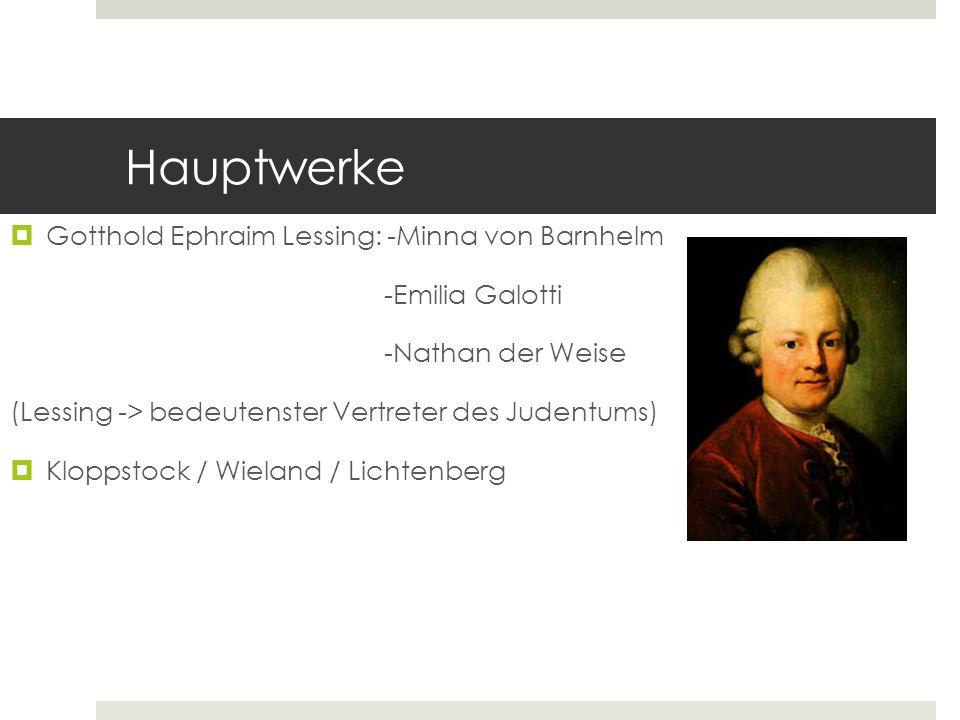 Hauptwerke Gotthold Ephraim Lessing: -Minna von Barnhelm