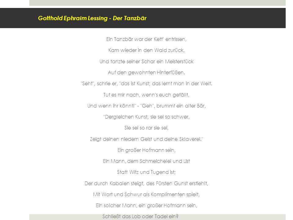 Gotthold Ephraim Lessing - Der Tanzbär