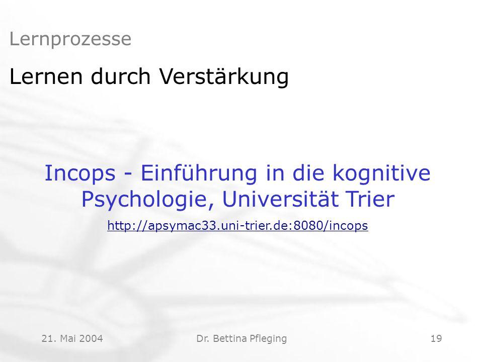 Incops - Einführung in die kognitive Psychologie, Universität Trier