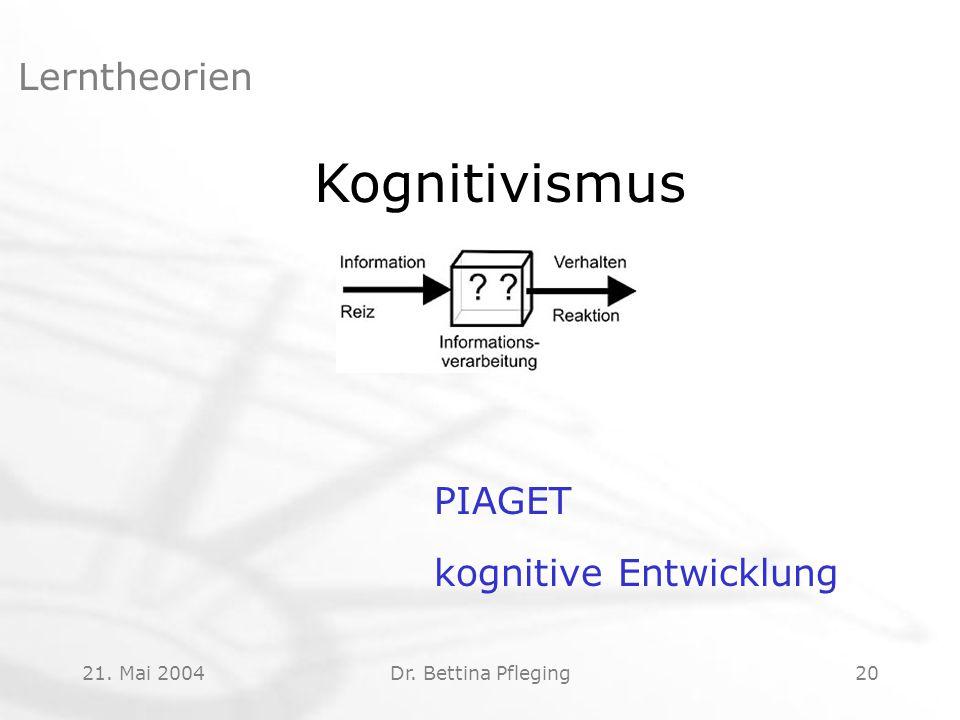 Kognitivismus Lerntheorien PIAGET kognitive Entwicklung