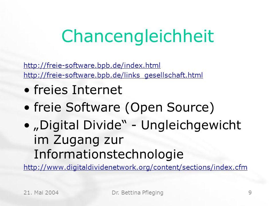 Chancengleichheit freies Internet freie Software (Open Source)