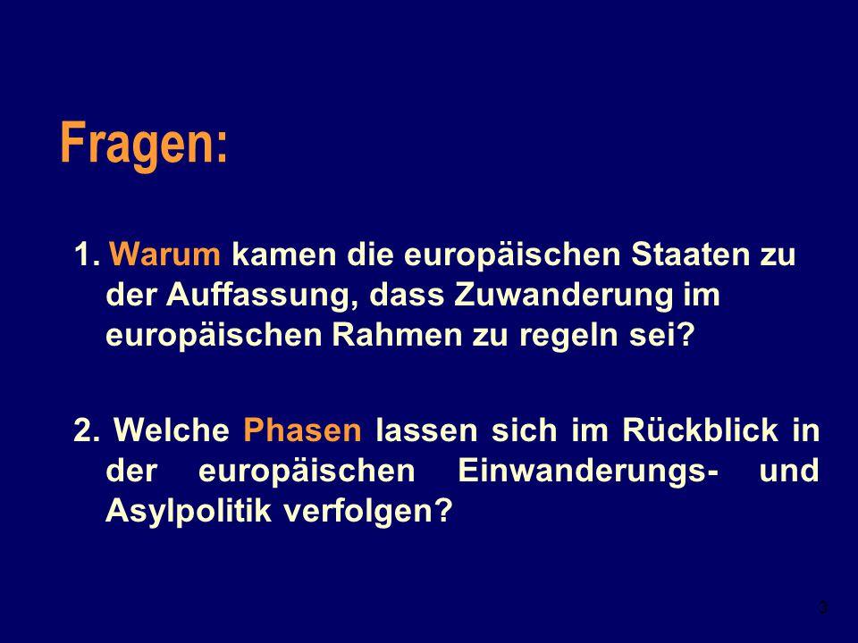 Fragen: 1. Warum kamen die europäischen Staaten zu der Auffassung, dass Zuwanderung im europäischen Rahmen zu regeln sei