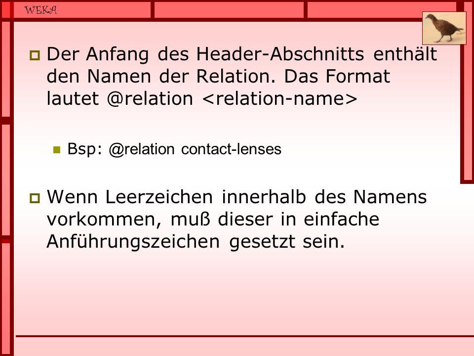 Der Anfang des Header-Abschnitts enthält den Namen der Relation