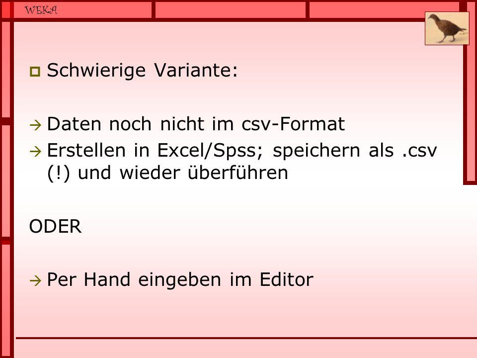 Schwierige Variante: Daten noch nicht im csv-Format. Erstellen in Excel/Spss; speichern als .csv (!) und wieder überführen.
