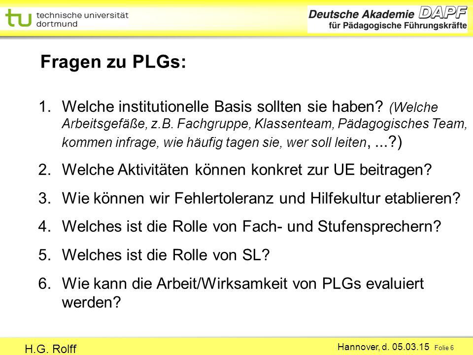 Fragen zu PLGs: