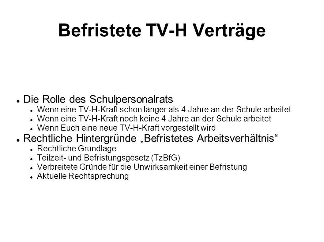 Befristete TV-H Verträge