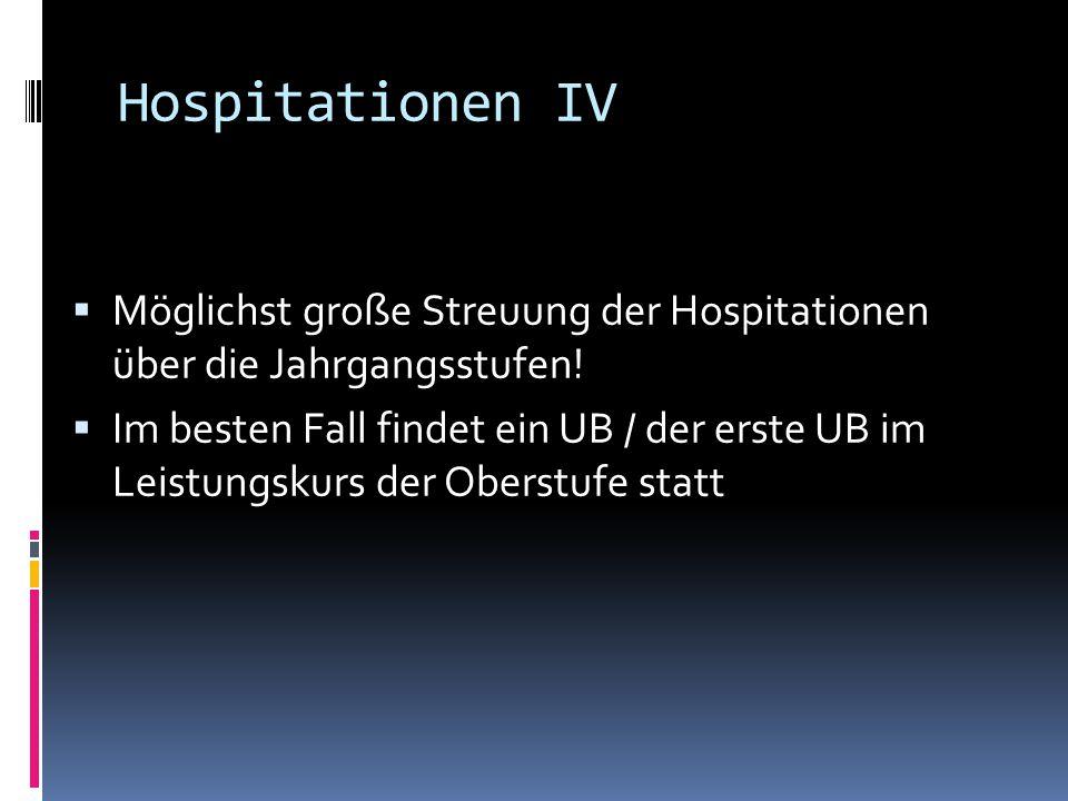 Hospitationen IV Möglichst große Streuung der Hospitationen über die Jahrgangsstufen!