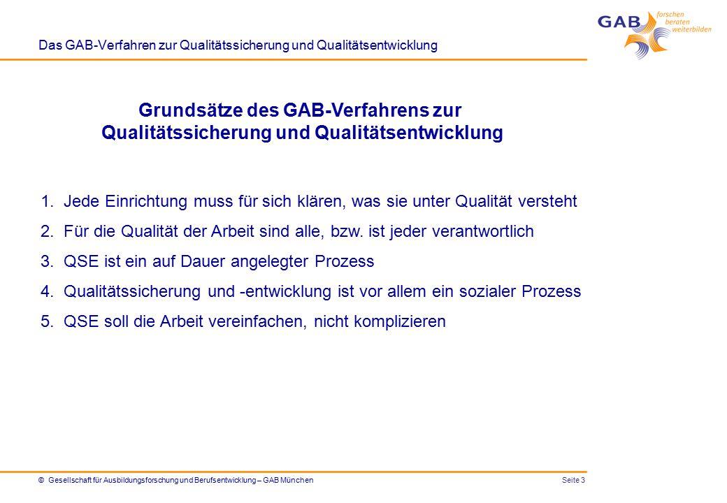Das GAB-Verfahren zur Qualitätssicherung und Qualitätsentwicklung