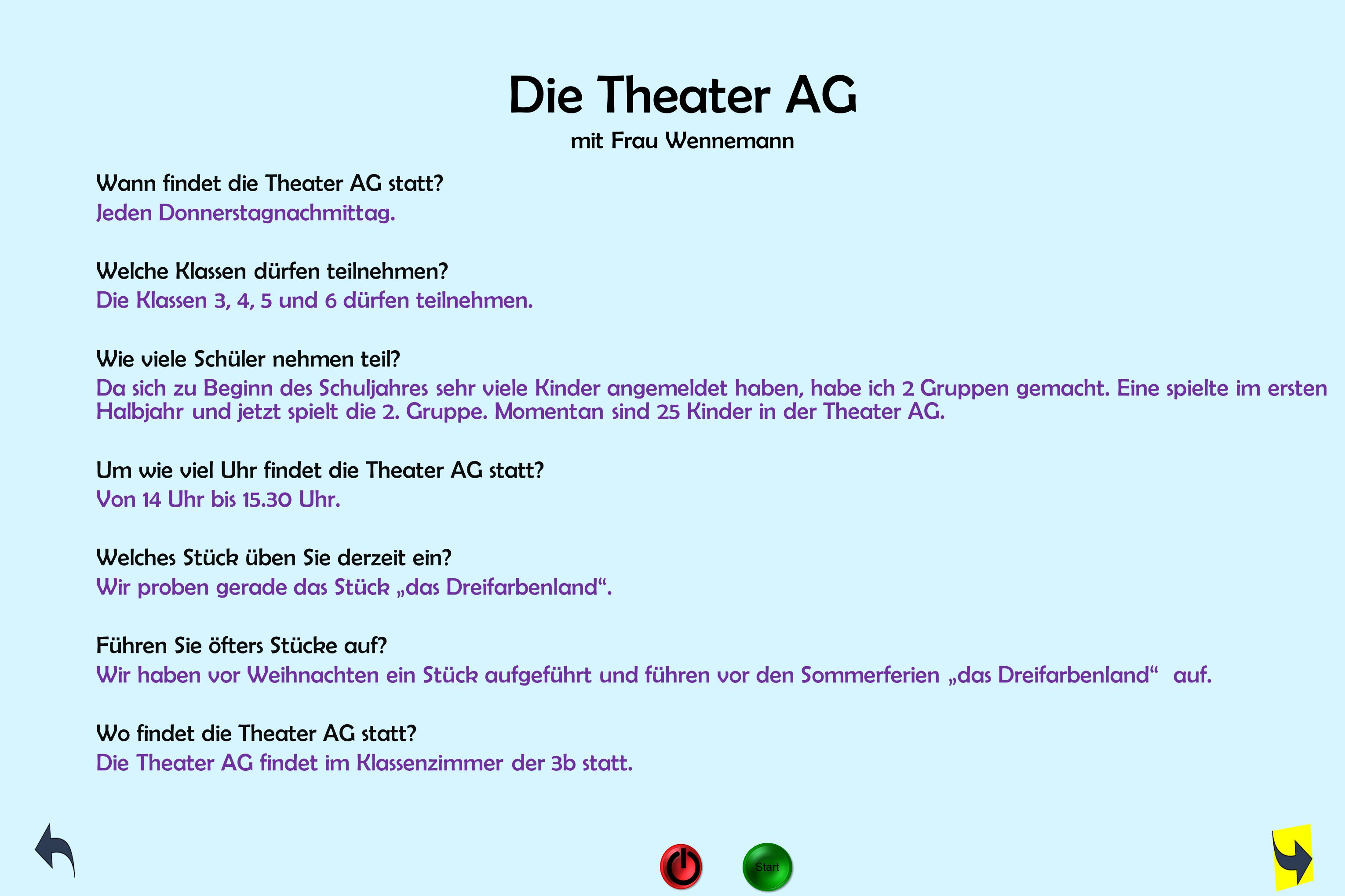 Die Theater AG mit Frau Wennemann