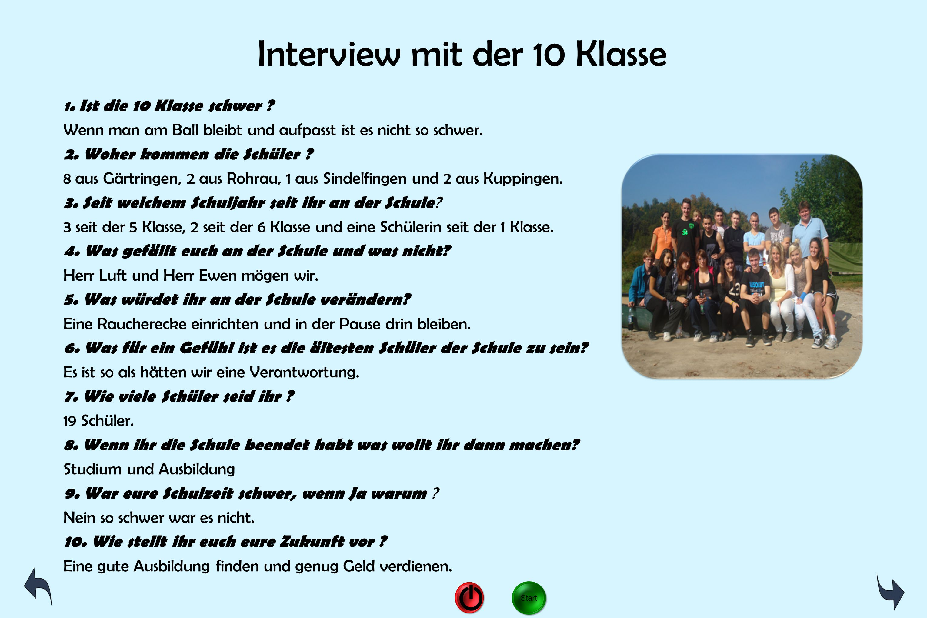 Interview mit der 10 Klasse
