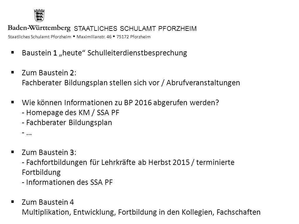 """Baustein 1 """"heute Schulleiterdienstbesprechung"""