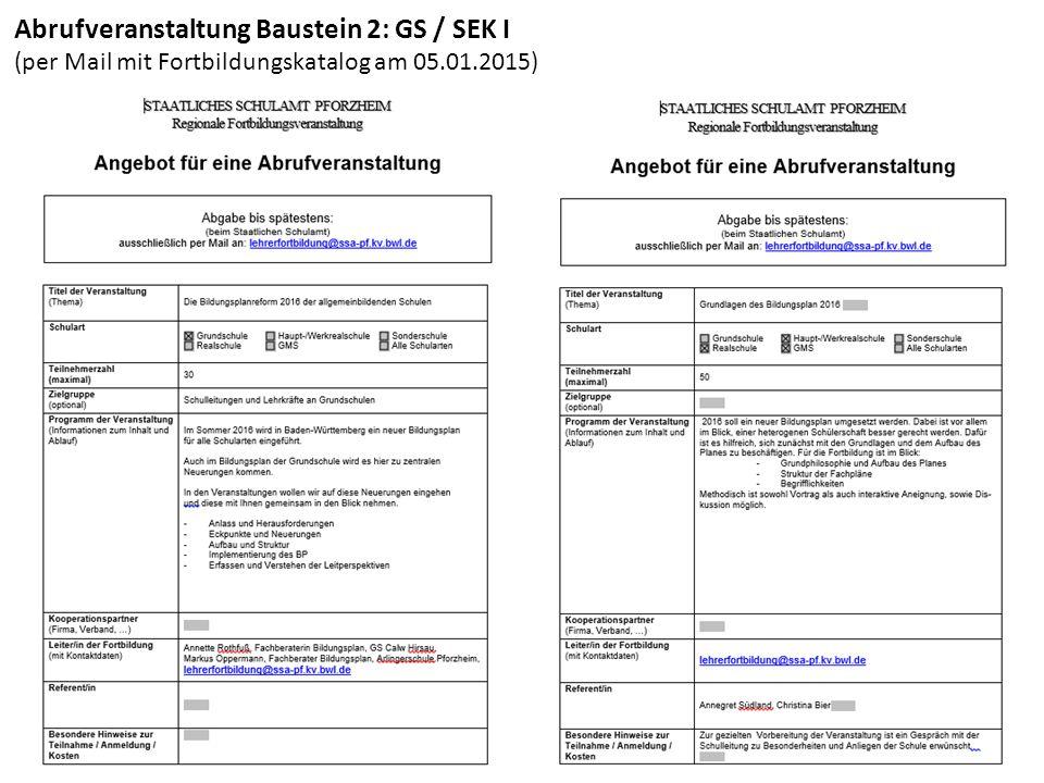 Abrufveranstaltung Baustein 2: GS / SEK I
