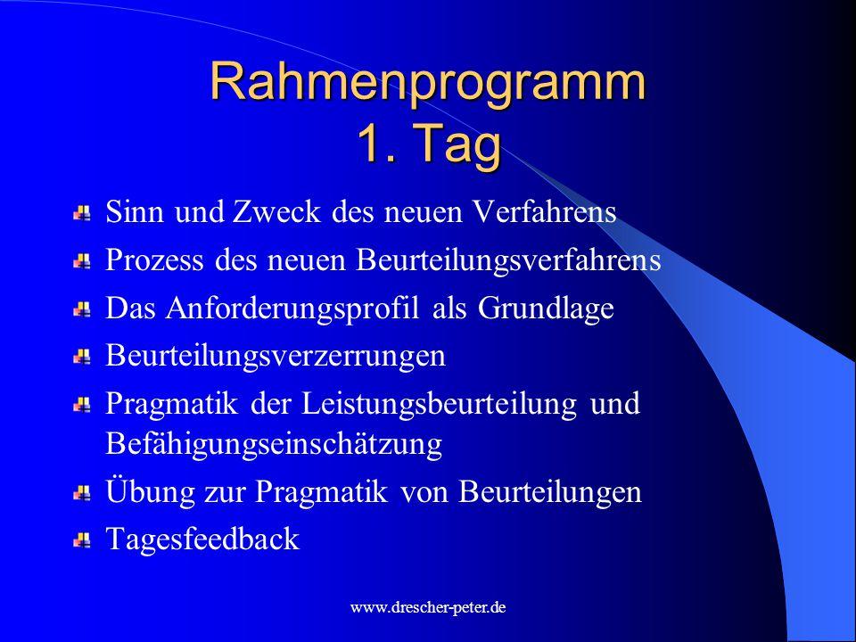 Rahmenprogramm 1. Tag Sinn und Zweck des neuen Verfahrens