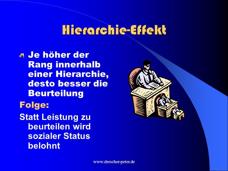 Hierarchie-Effekt Je höher der Rang innerhalb einer Hierarchie, desto besser die Beurteilung. Folge: