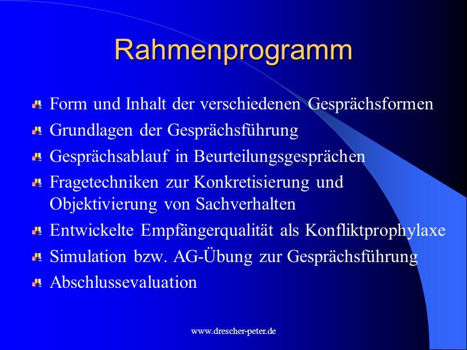 Rahmenprogramm Form und Inhalt der verschiedenen Gesprächsformen