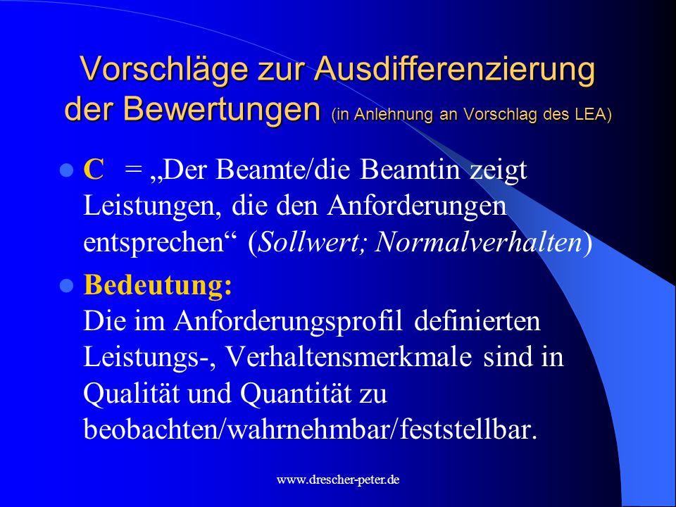 Vorschläge zur Ausdifferenzierung der Bewertungen (in Anlehnung an Vorschlag des LEA)