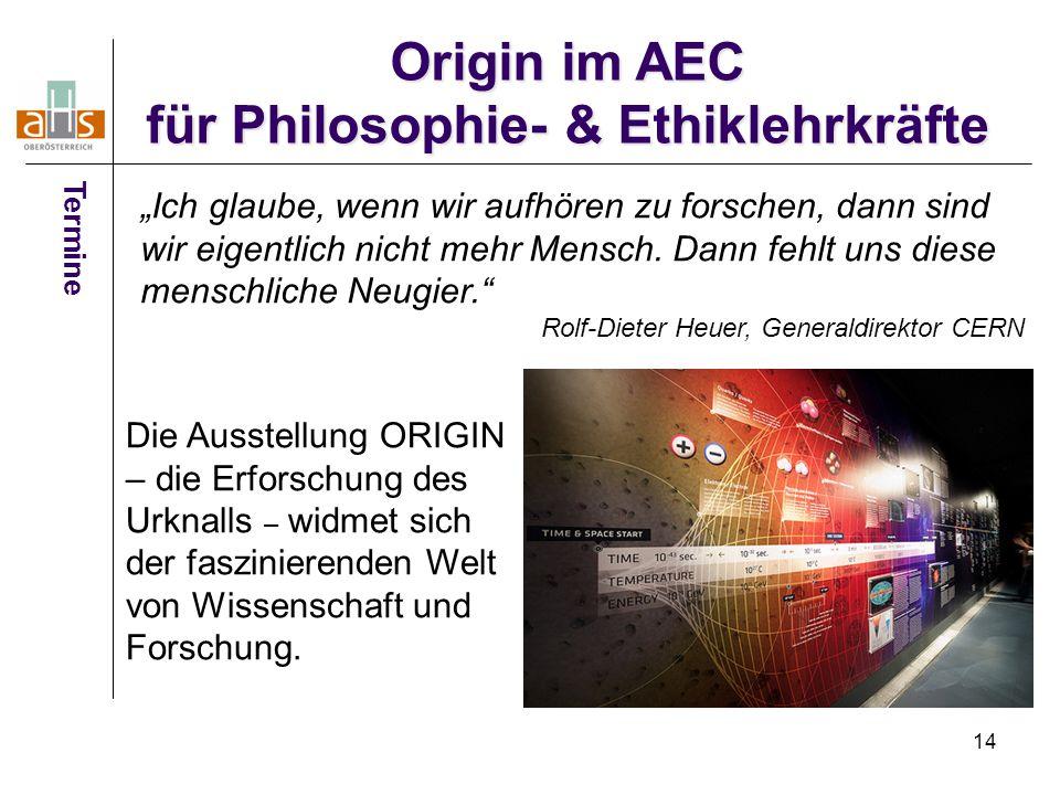 Origin im AEC für Philosophie- & Ethiklehrkräfte