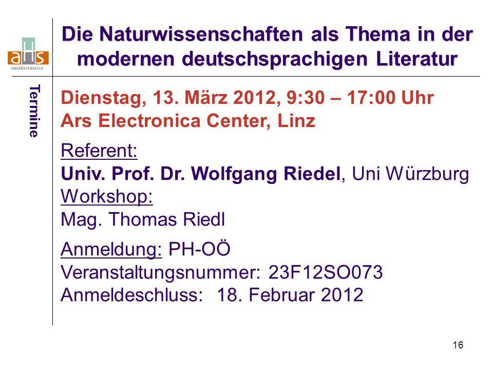Die Naturwissenschaften als Thema in der modernen deutschsprachigen Literatur