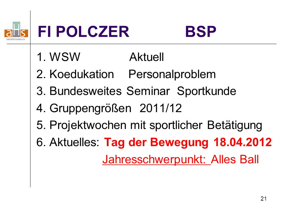 FI POLCZER BSP 1. WSW Aktuell 2. Koedukation Personalproblem