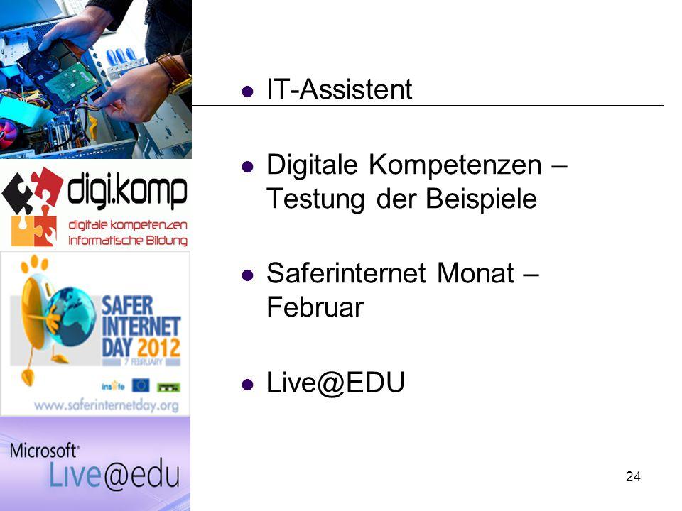 IT-Assistent Digitale Kompetenzen – Testung der Beispiele Saferinternet Monat – Februar Live@EDU