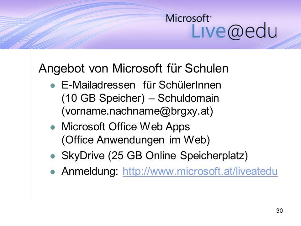 Angebot von Microsoft für Schulen