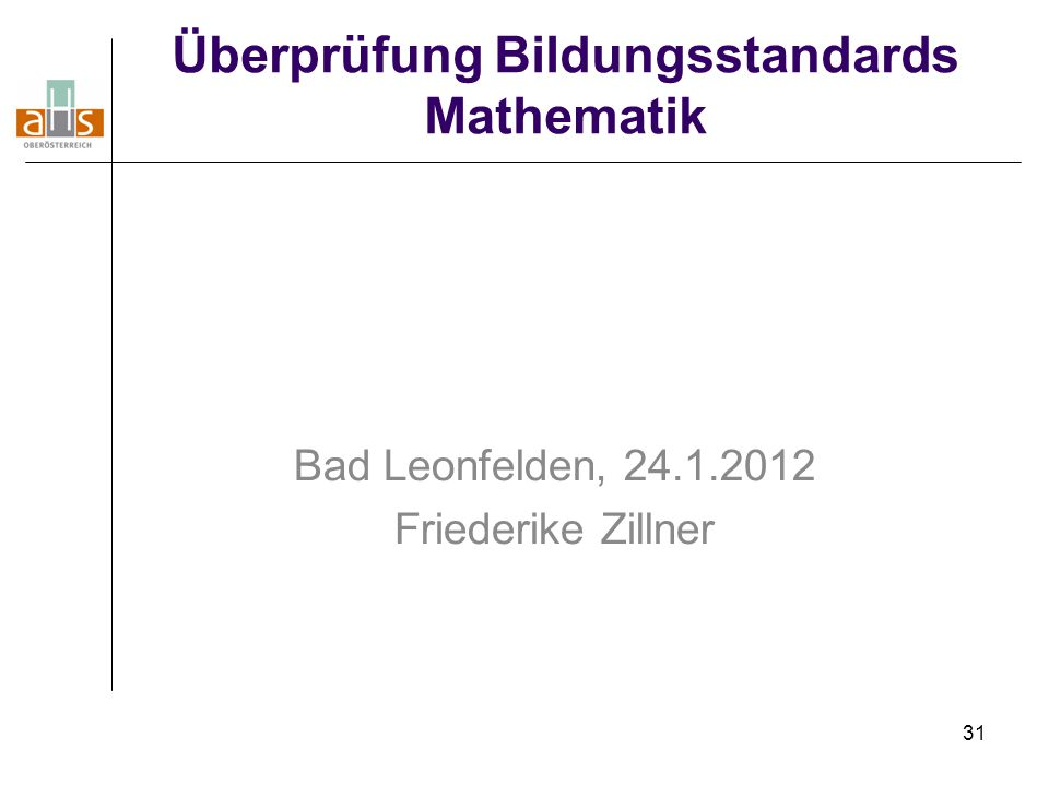 Überprüfung Bildungsstandards Mathematik