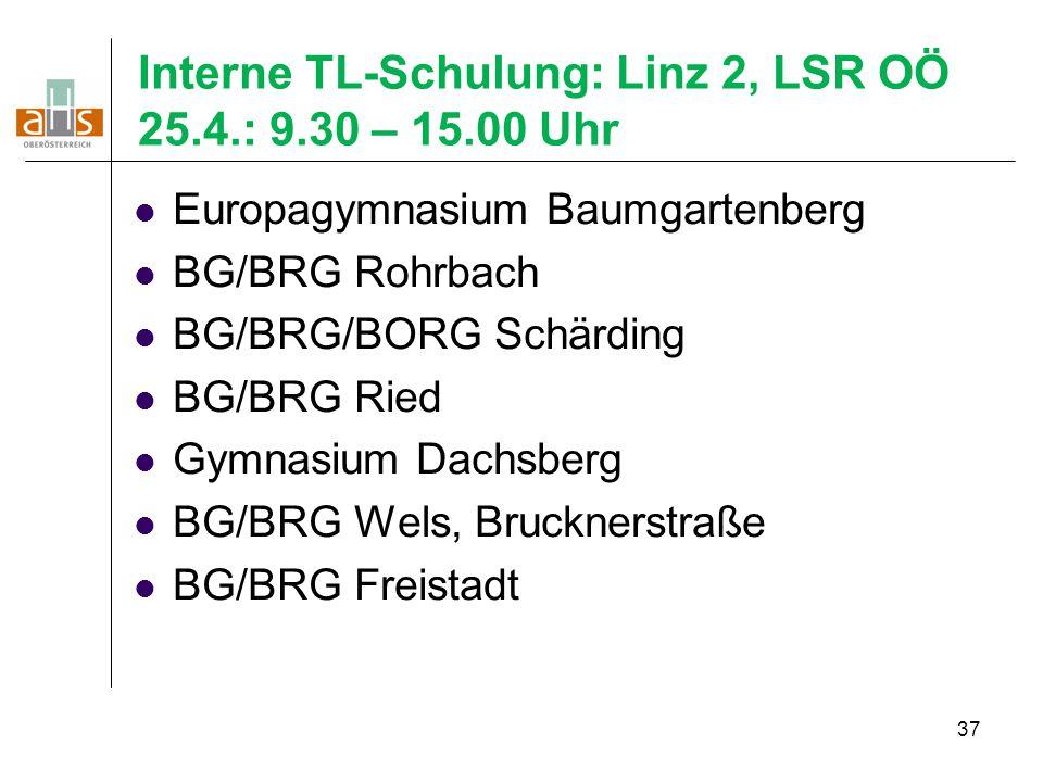 Interne TL-Schulung: Linz 2, LSR OÖ 25.4.: 9.30 – 15.00 Uhr